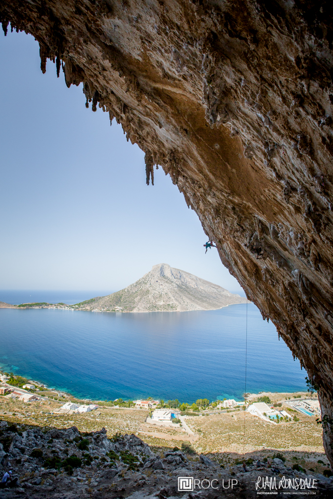 Ben West climbing the impressively steep Aegialis in the Grand Grotte in Kalymnos (7c).